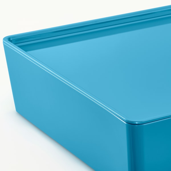 KUGGIS Storage box with lid, blue/plastic, 18x26x8 cm