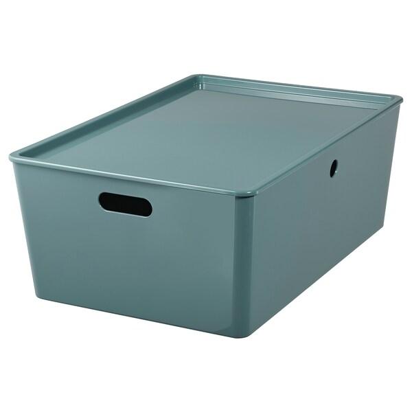KUGGIS Storage box with lid, turquoise, 37x54x21 cm