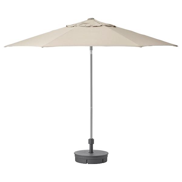 KUGGÖ / LINDÖJA Parasol with base, beige/Grytö dark grey, 300 cm