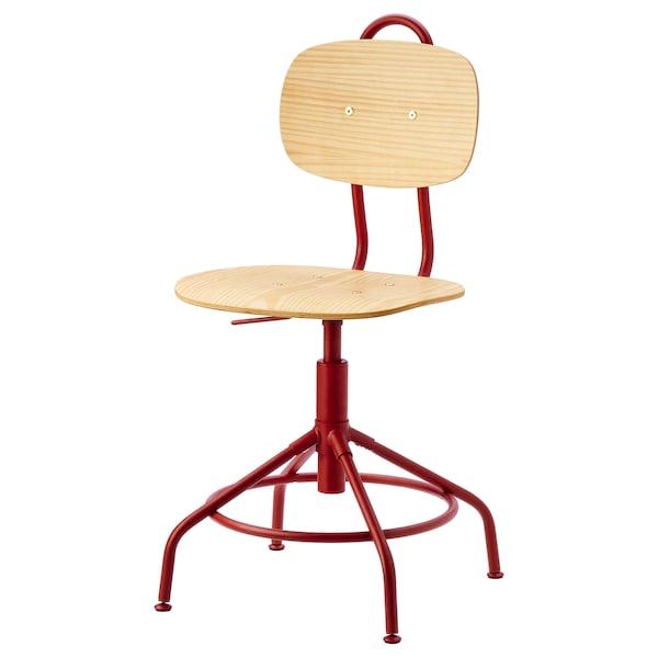 KULLABERG Swivel chair, pine/red