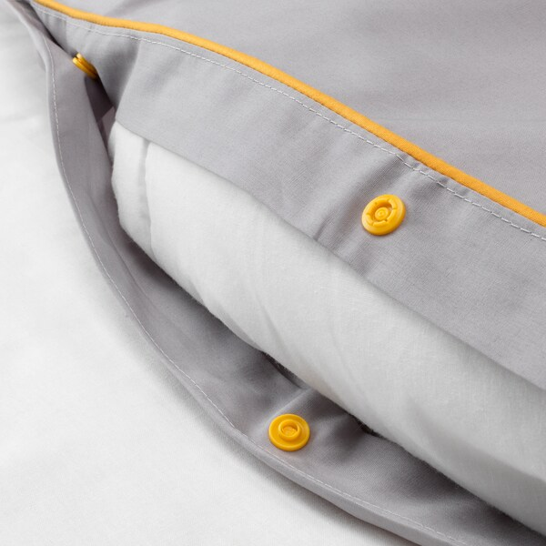 KUNGSBLOMMA Quilt cover and 2 pillowcases, grey/yellow, 200x200/50x80 cm