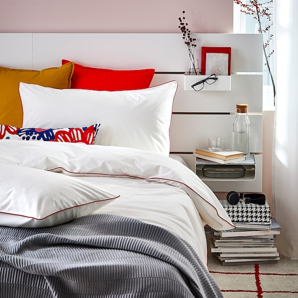 KUNGSBLOMMA Quilt cover and 2 pillowcases, white/red, 200x200/50x80 cm