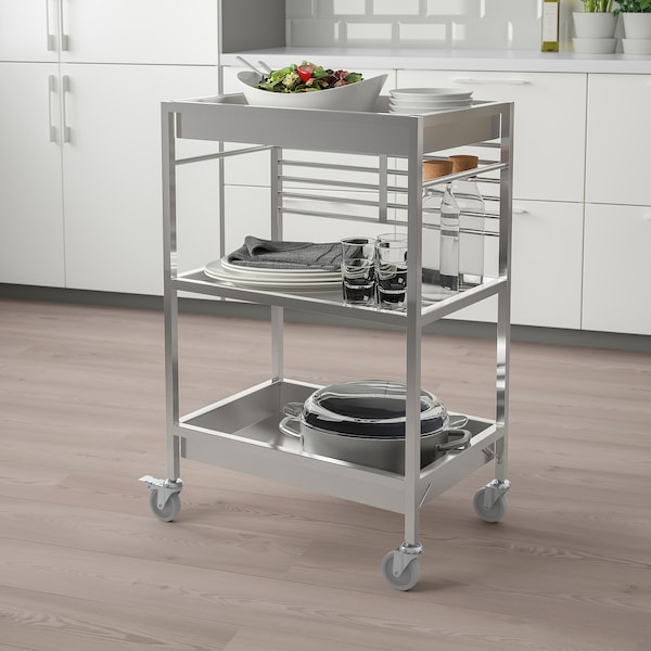 KUNGSFORS Kitchen trolley, stainless steel, 60x40 cm