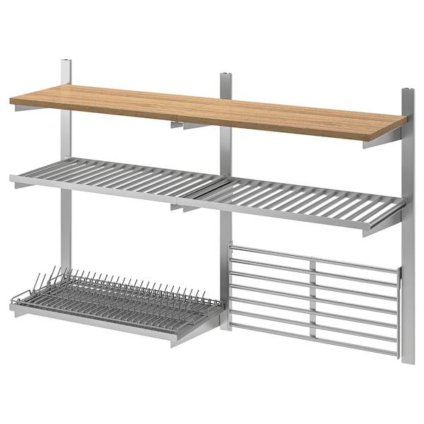 KUNGSFORS Susp rail/shlf/dish dra/wll gr, stainless steel/ash