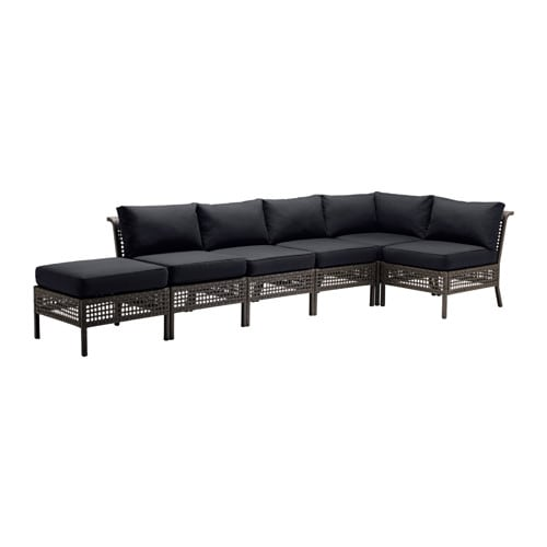 IKEA KUNGSHOLMEN/KUNGSÖ corner sofa 2+3 with stool, outdoor
