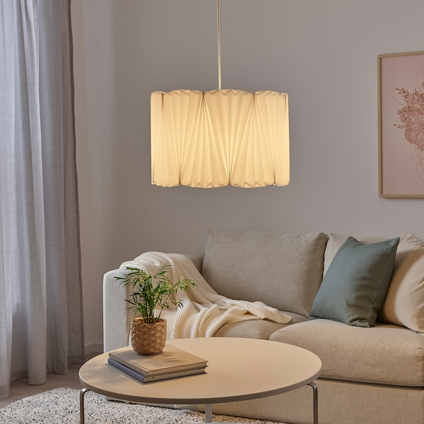 KUNGSHULT Lamp shade, pleated white, 42 cm