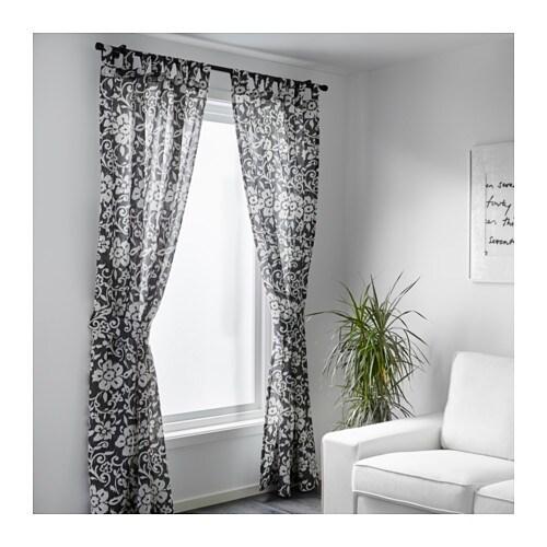Kungslilja Curtains With Tie Backs 1 Pair Grey White 145x250 Cm Ikea