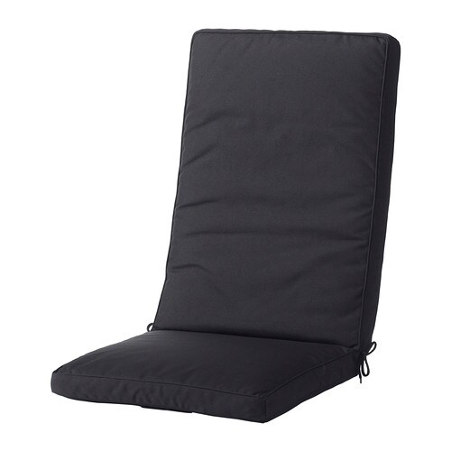 KUNGSÖ Seat/back cushion, outdoor IKEA Ties and a strap keep the seat/back cushion firmly in place on the chair.