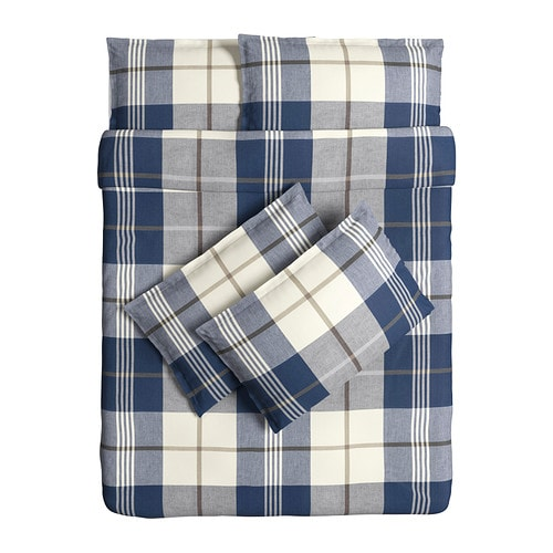 kustruta quilt cover and 4 pillowcases blue check 200x200 50x80 cm ikea. Black Bedroom Furniture Sets. Home Design Ideas