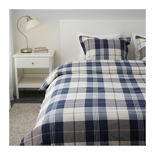 Kustruta quilt cover and 4 pillowcases blue check 240x220 50x80 cm ikea - Couette ignifugee ikea ...