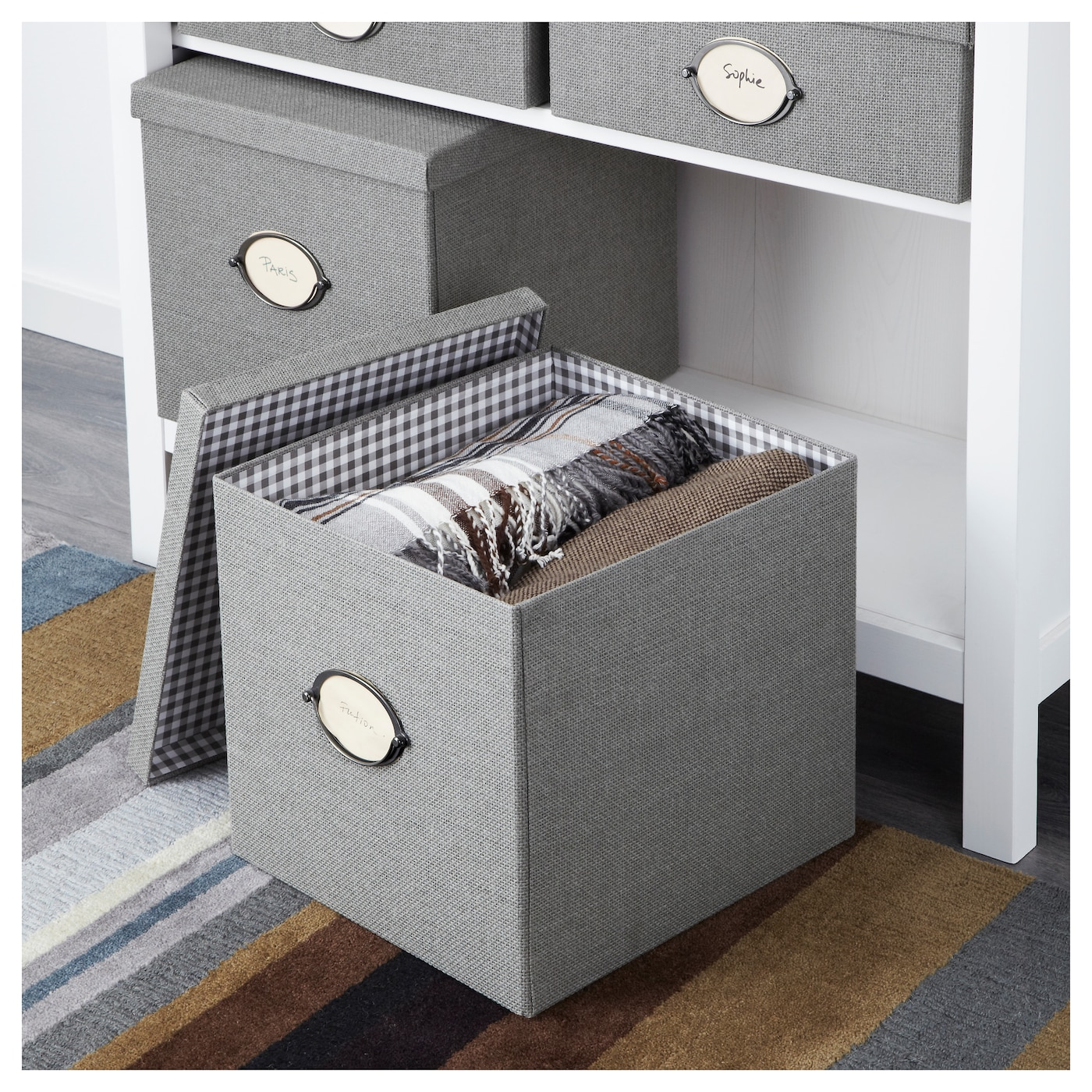 Kvarnvik box with lid grey 32x35x30 cm ikea for Ikea box diviseurs