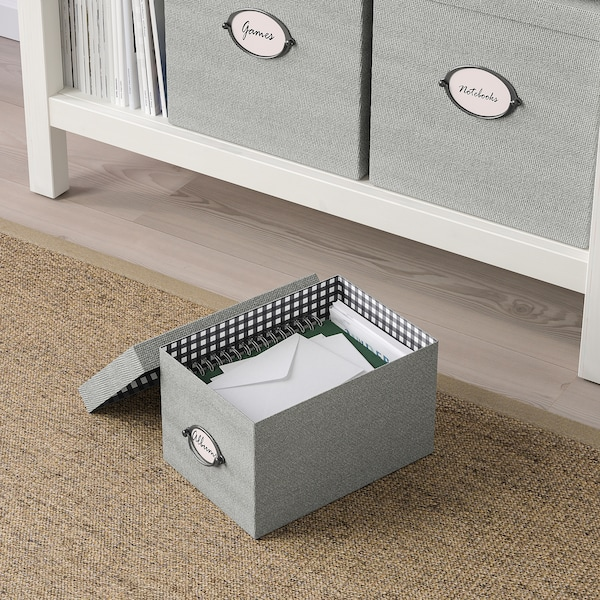 KVARNVIK Storage box with lid, grey, 18x25x15 cm
