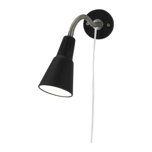 KVART Wall/clamp spotlight IKEA Can be fitted in two different ways; clamp and wall fitting are included.  Adjustable arm for easy directing of light.