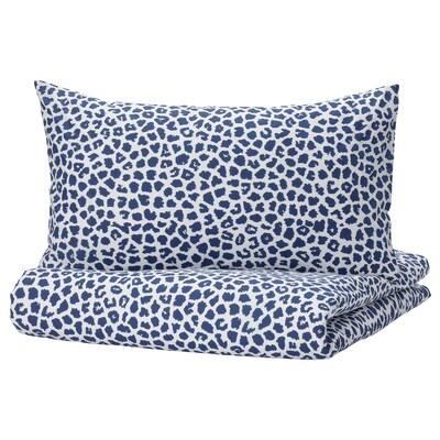 KVASTFIBBLA Duvet cover and 2 pillowcases, white/dark blue, 200x200/50x80 cm