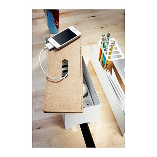 kvissle cable management box cork white ikea. Black Bedroom Furniture Sets. Home Design Ideas