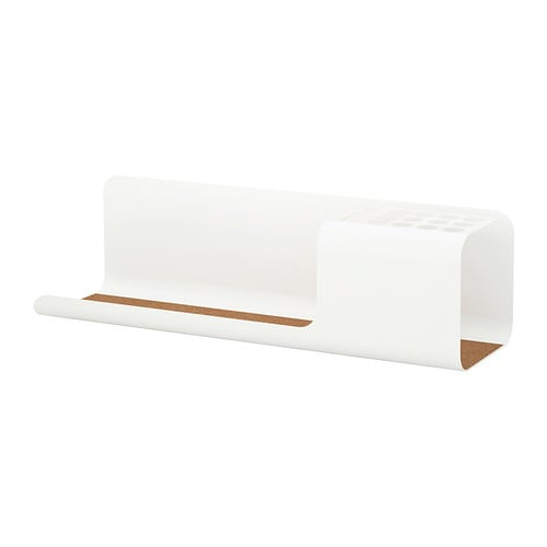 KVISSLE Desk organiser IKEA Holds your pens, rulers, mobile etc.  Cork liner in the bottom keeps the things in place.