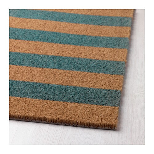 kvoring door mat natural turquoise 40x70 cm ikea