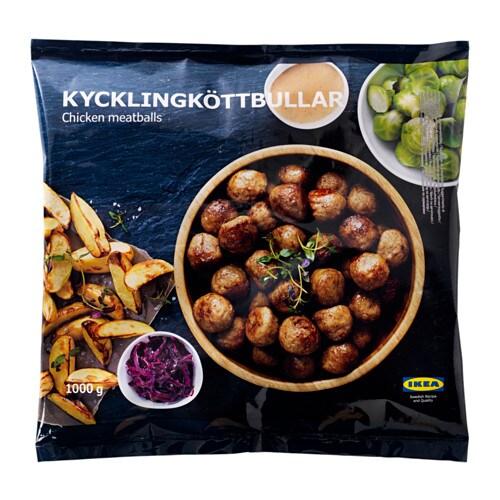 KYCKLINGKÖTTBULLAR Chicken meatballs, frozen IKEA Only natural ingredients: chicken, onion, potato starch, salt and spices.