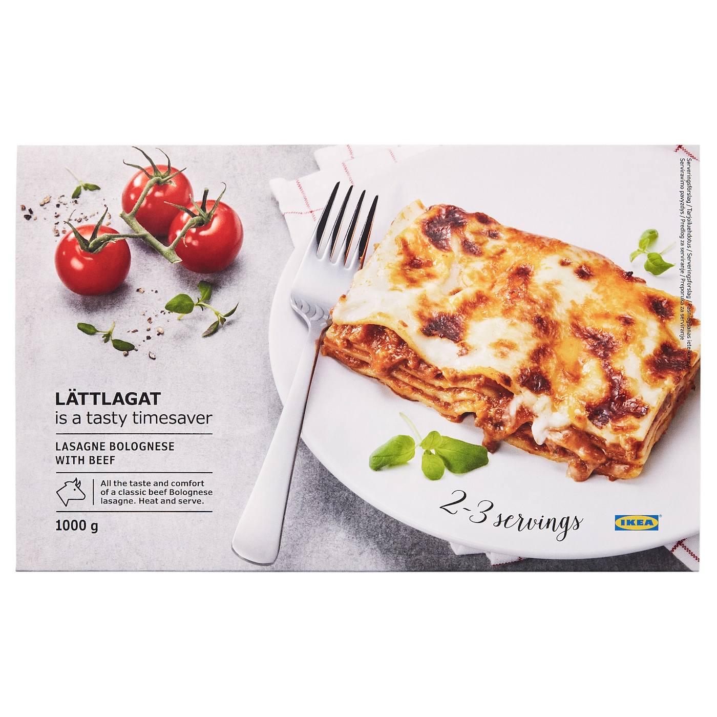 IKEA LÄTTLAGAT lasagne Easily prepared from frozen in the oven or in the microwave.