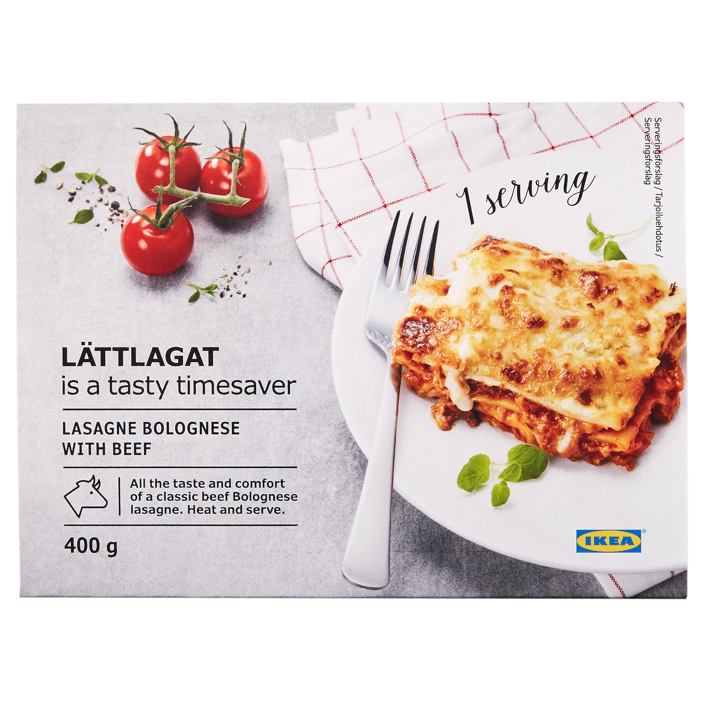 IKEA LÄTTLAGAT lasagne Easily prepared from frozen in the oven or in the microwave. Serves 1 person.