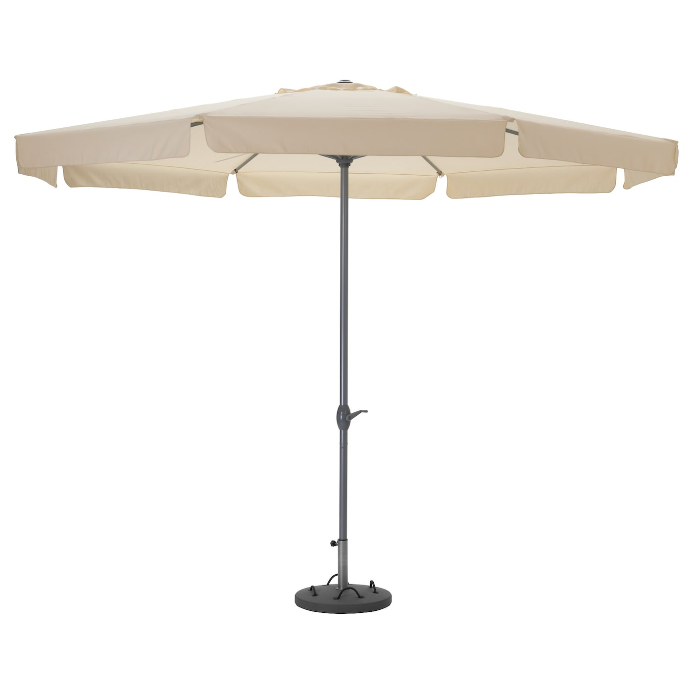 IKEA LÖKÖ/LJUSTERÖ parasol with base The parasol is easy to open or close by using the crank.