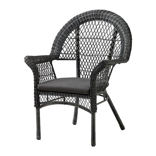 LÄCKÖ Armchair with pad, outdoor IKEA Hand-woven plastic rattan; weather-resistant and easy to care for.