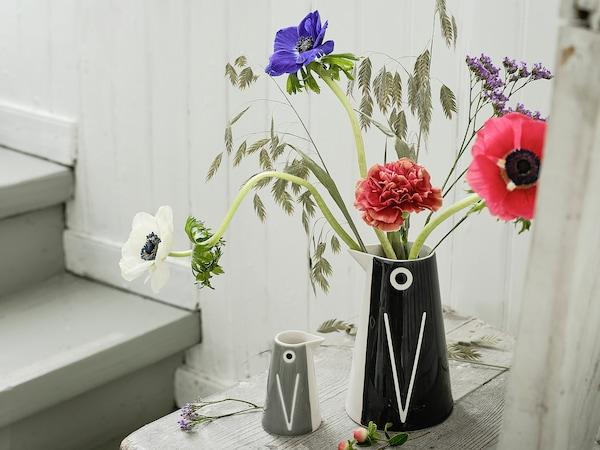 LÄTTSÅLD Vase/carafe, set of 2, penguin/black grey
