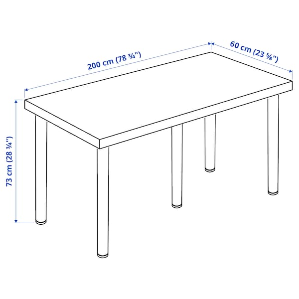 LAGKAPTEN / ADILS Desk, dark grey/black, 200x60 cm