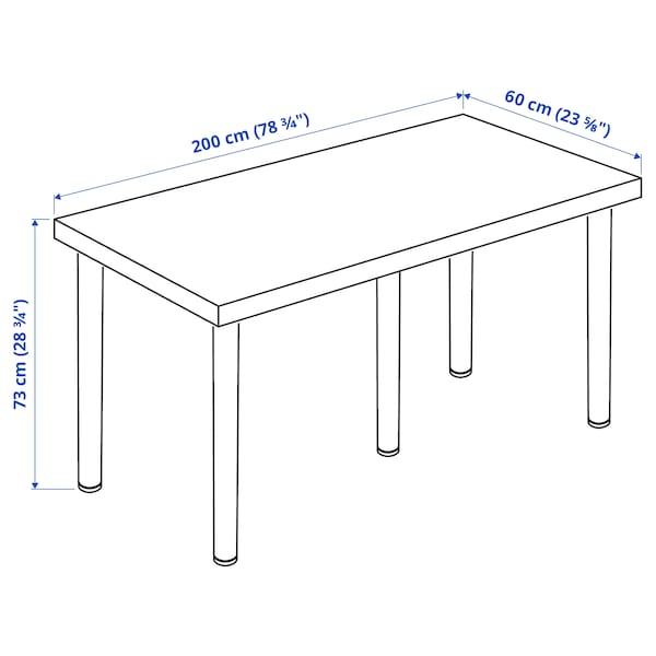 LAGKAPTEN / ADILS Desk, white stained oak effect/black, 200x60 cm