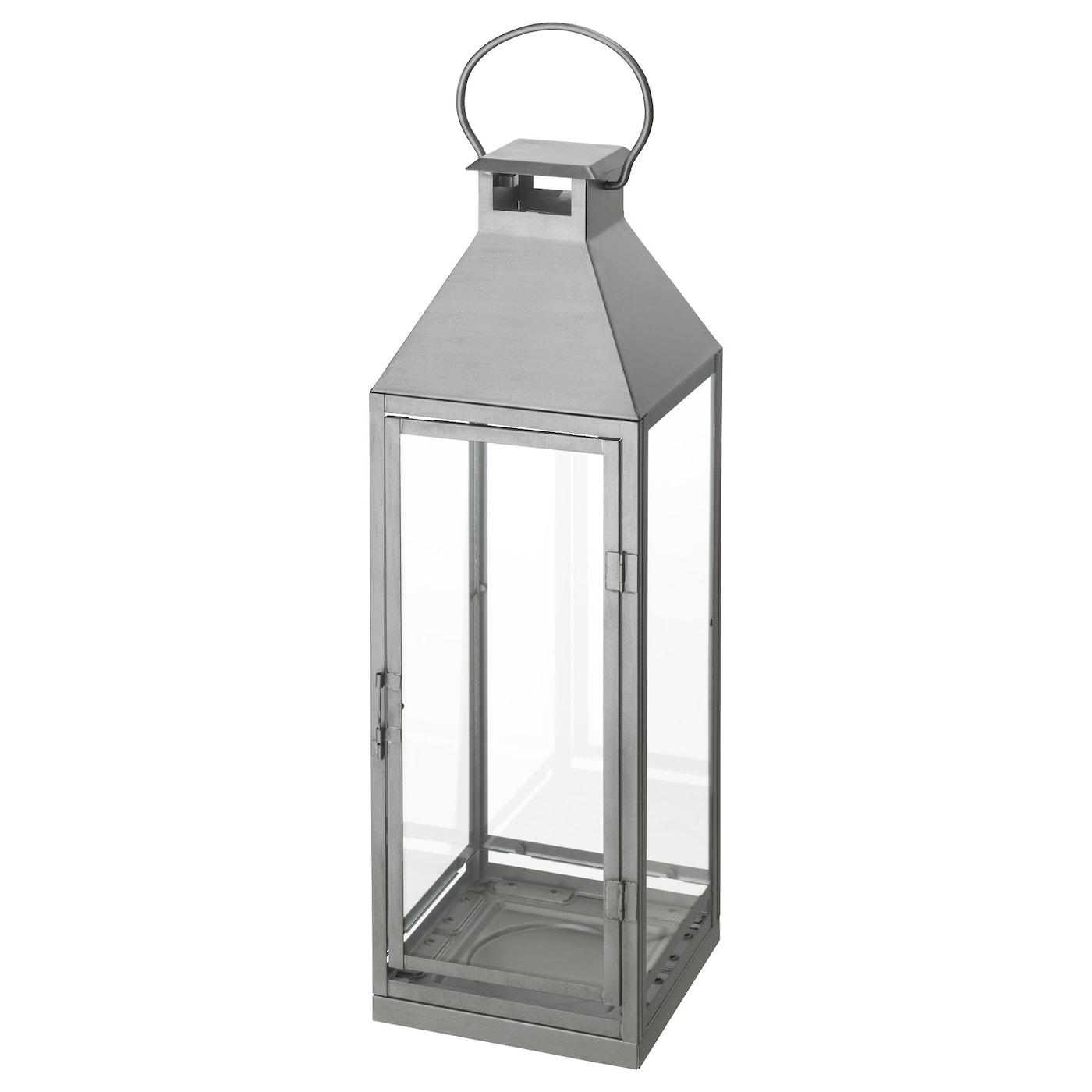 Lagrad lantern f block candle in outdoor silver colour 58 - Laterne ikea ...