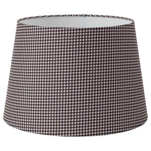 LÅGVIND Lamp shade, check black/beige, 44 cm