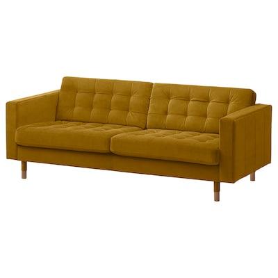 LANDSKRONA 3-seat sofa, velvet/yellow/wood