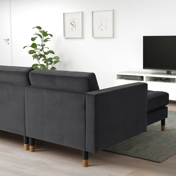 LANDSKRONA 3-seat sofa, with chaise longue/velvet dark grey/wood