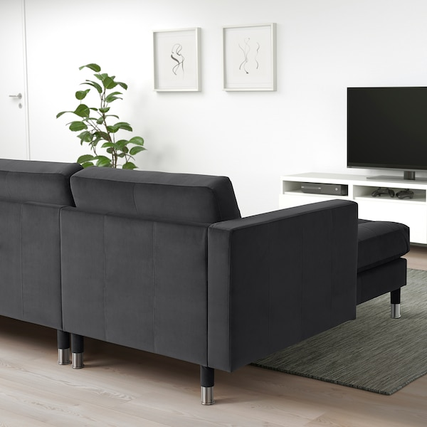 LANDSKRONA 3-seat sofa with chaise longue/velvet dark grey/metal 242 cm 78 cm 158 cm 64 cm