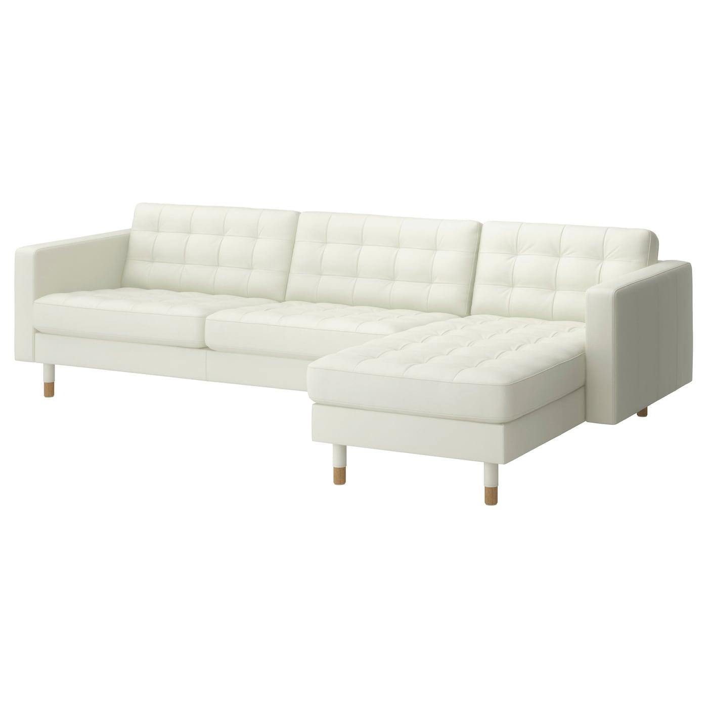 Landskrona 4 seat sofa with chaise longue grann bomstad white wood ikea - Sofa 4 plazas chaise longue ...