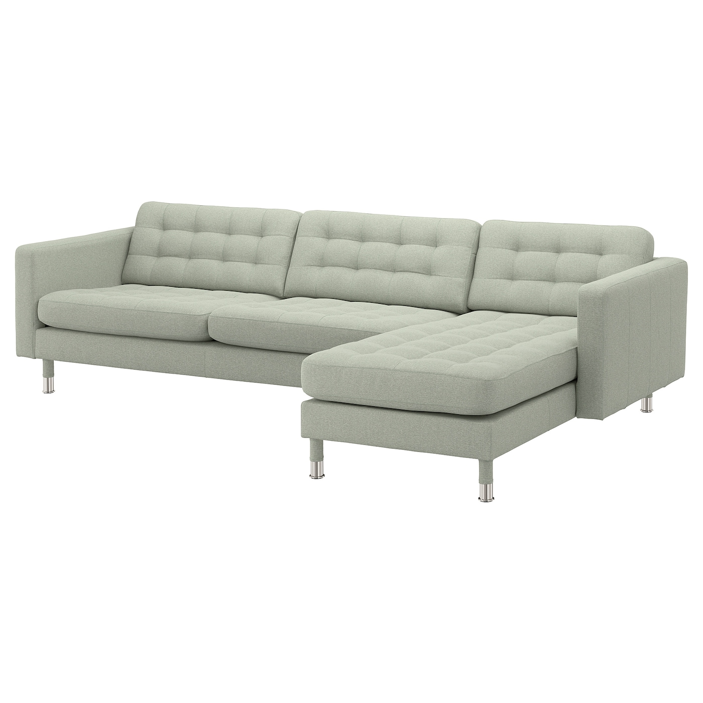 landskrona 4 seat sofa with chaise longue gunnared light green metal ikea. Black Bedroom Furniture Sets. Home Design Ideas