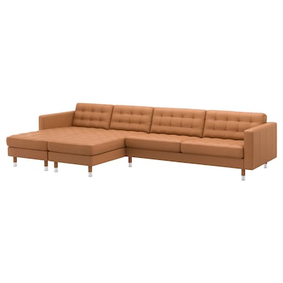 LANDSKRONA 5-seat sofa, with chaise longues/Grann/Bomstad golden-brown/metal