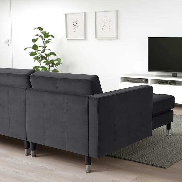 LANDSKRONA 5-seat sofa, with chaise longues/velvet dark grey/metal
