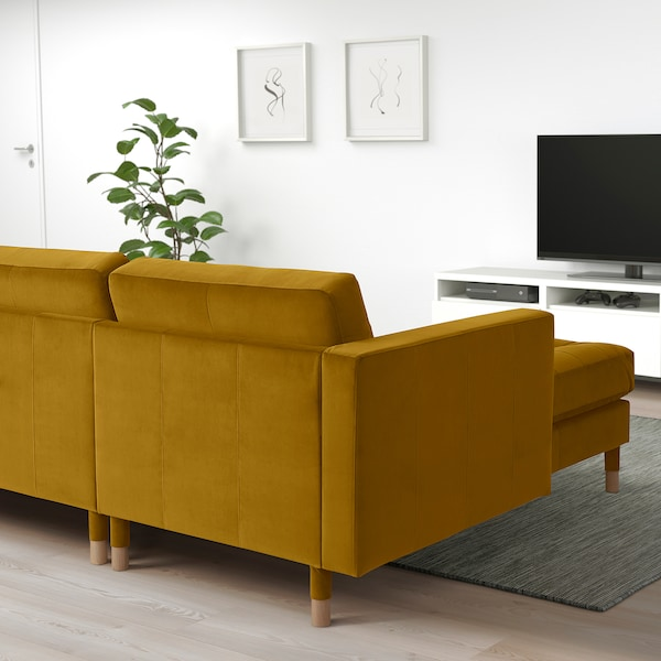 LANDSKRONA 5-seat sofa, with chaise longues/velvet yellow/wood