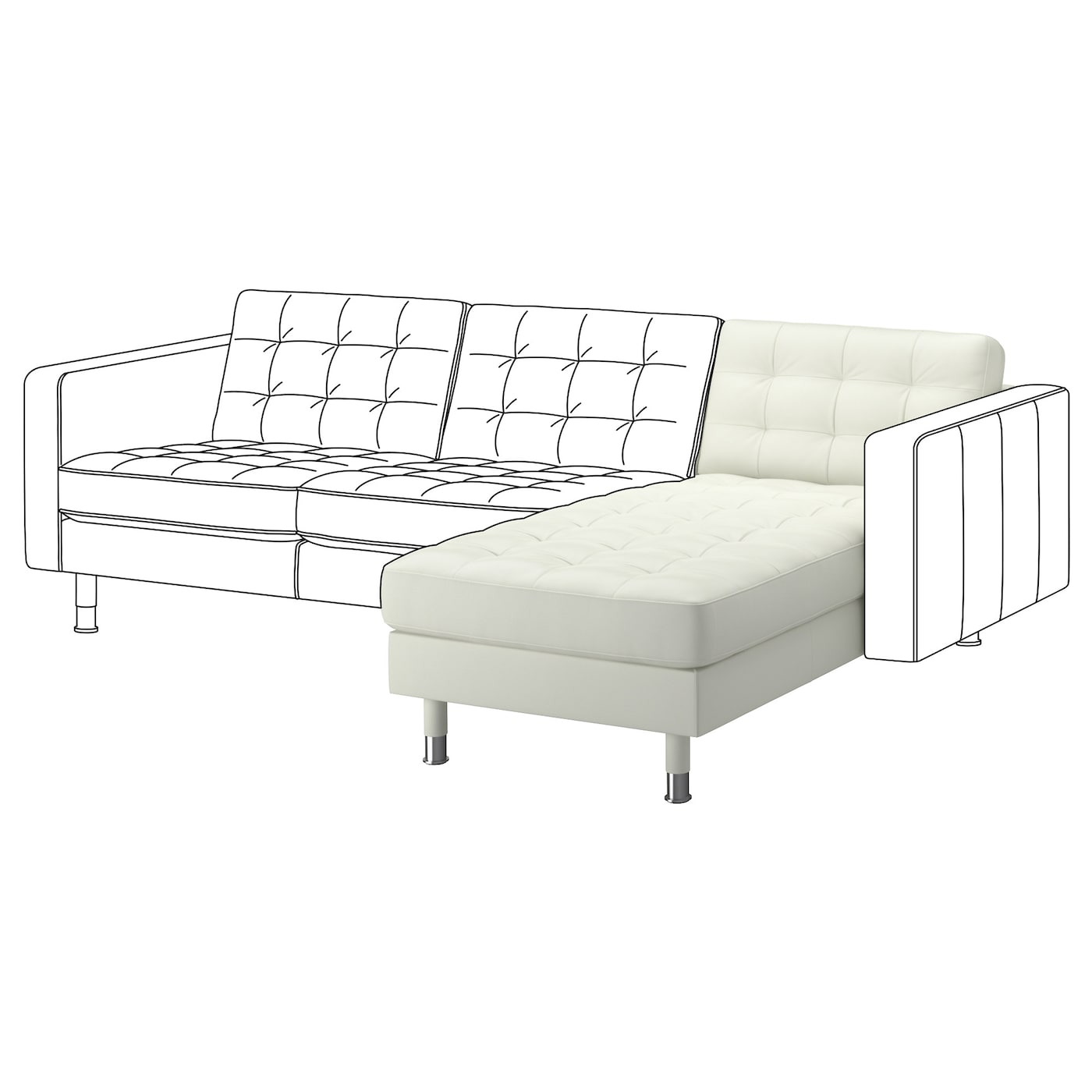 Landskrona chaise longue add on unit grann bomstad white for Chaise longue en toile pliante