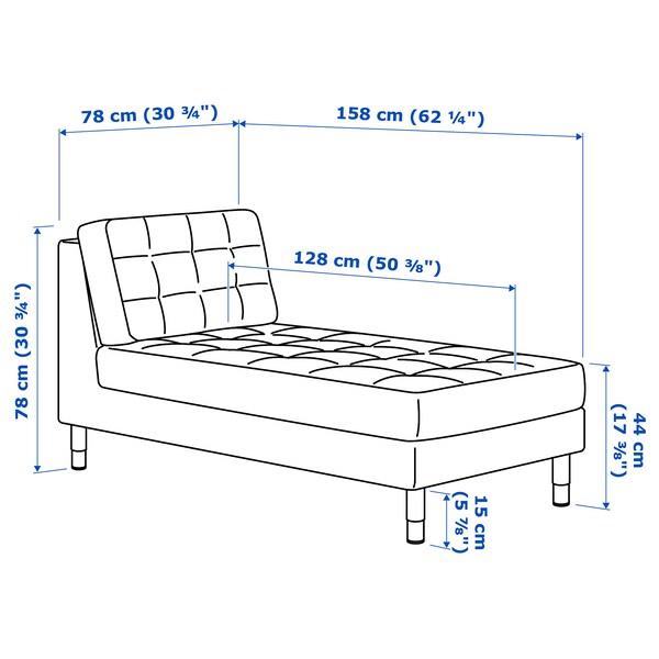 LANDSKRONA Chaise longue, add-on unit, velvet/dark grey/metal
