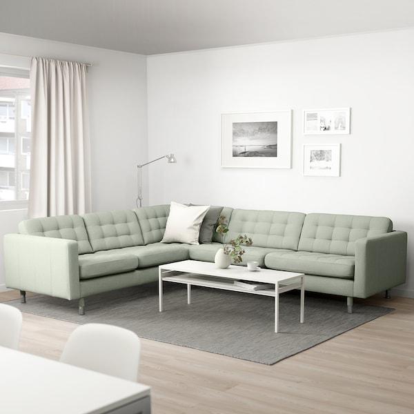 LANDSKRONA Gunnared light green, Corner sofa, 5 seat, 89 cm