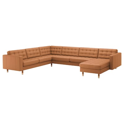 LANDSKRONA Corner sofa, 6-seat, with chaise longue/Grann/Bomstad golden-brown/wood