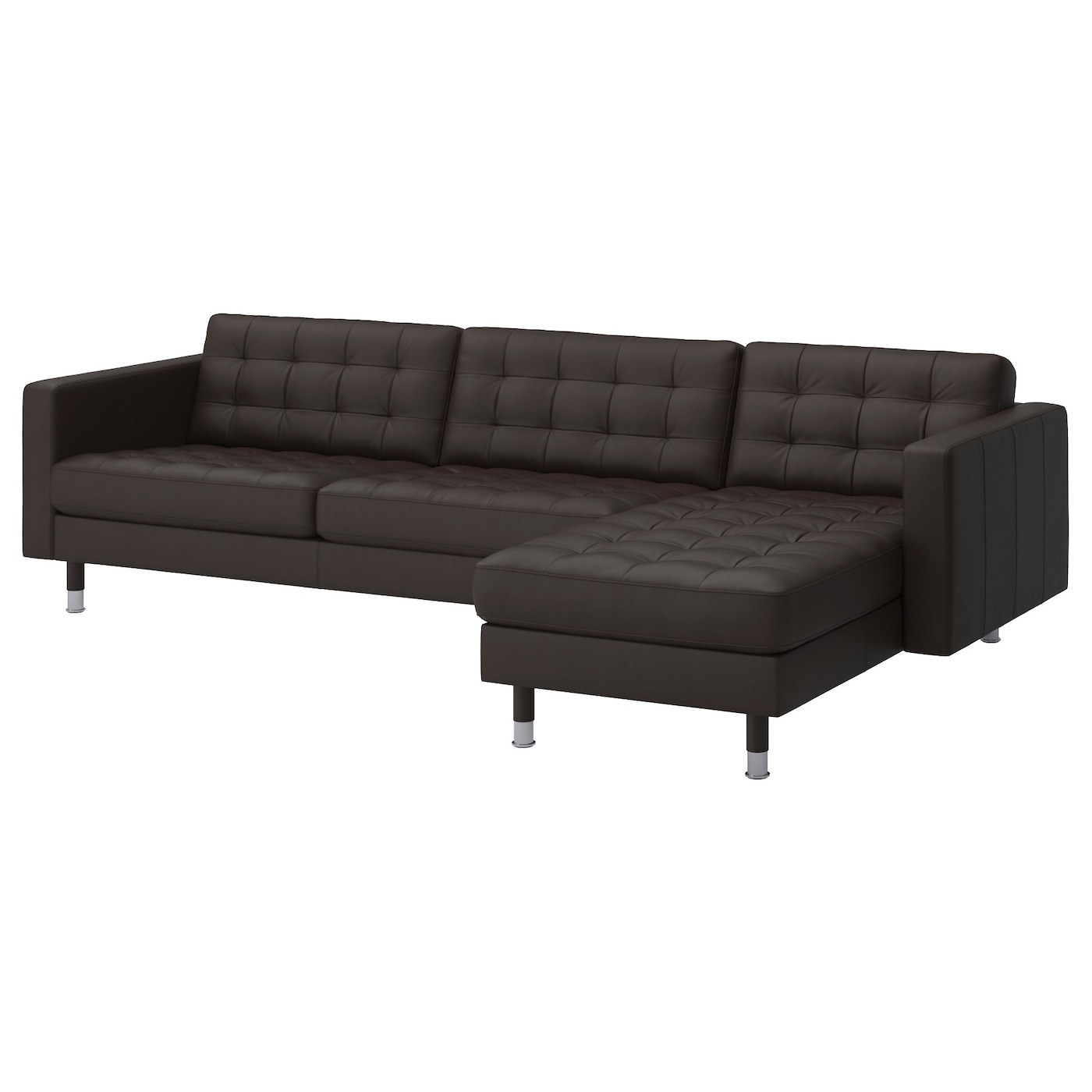 landskrona three seat sofa and chaise longue grann bomstad dark brown metal ikea. Black Bedroom Furniture Sets. Home Design Ideas