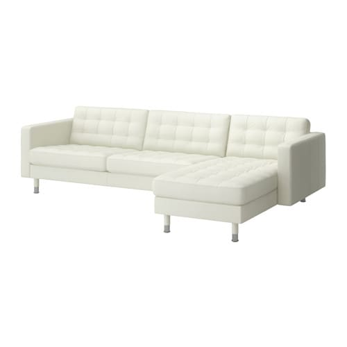 Landskrona three seat sofa and chaise longue grann bomstad white metal ikea - Chaise pliantes ikea ...