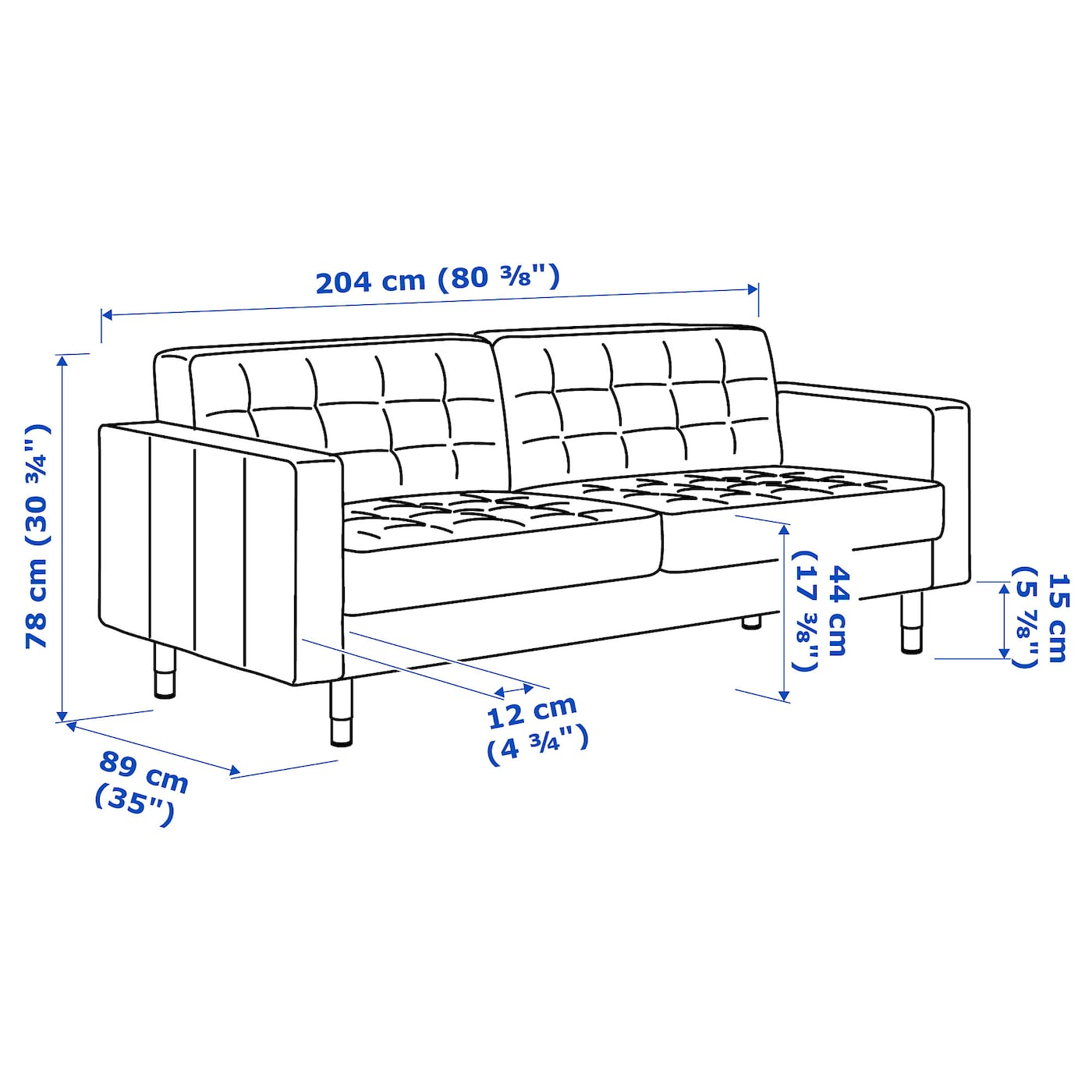 IKEA LANDSKRONA three-seat sofa Removable armrests make it easy to add on a chaise longue.