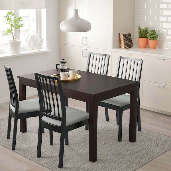 LANEBERG EKEDALEN Table and 4 chairs brown, black light grey 130190x80 cm