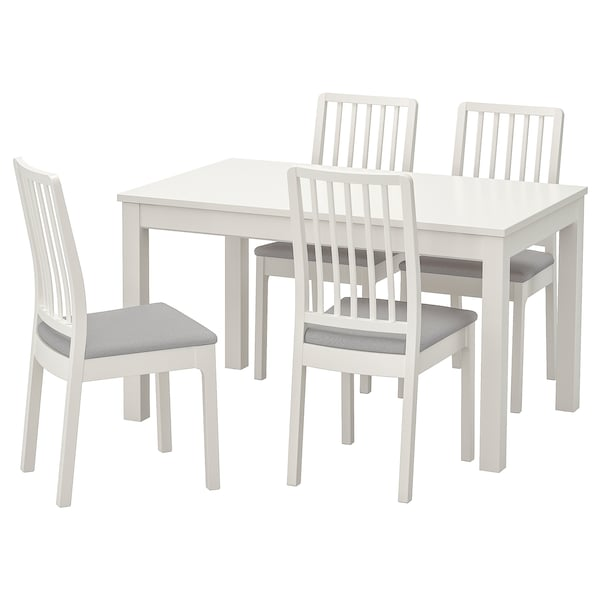 LANEBERG EKEDALEN Table and 4 chairs white, white light grey 130190x80 cm
