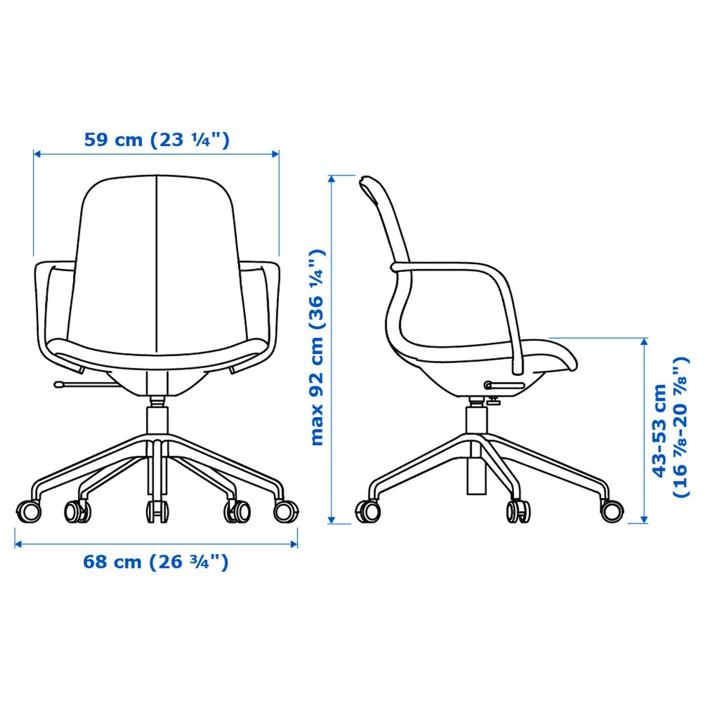 LÅNGFJÄLL Office chair with armrests Gunnared dark grey, black