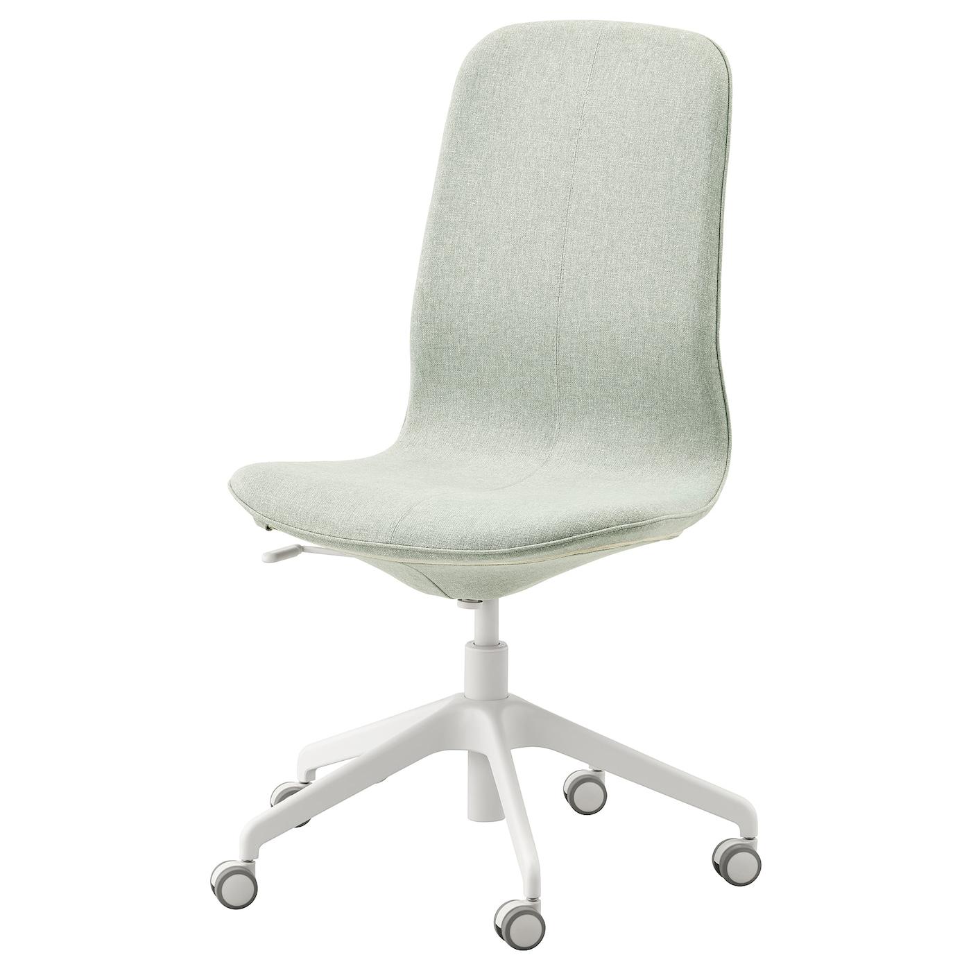 LÅNGFJÄLL Office chair Gunnared light green, white